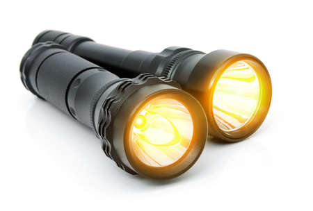 Electric LED torches isolated on a white background 스톡 콘텐츠