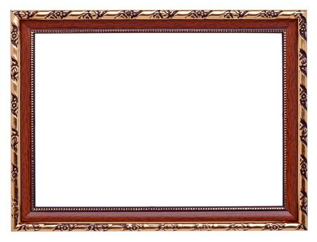 Wooden frame with gold inlay isolated on white background photo