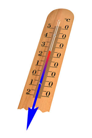 meteo: Thermometer with Celsius shows decrease of the temperature
