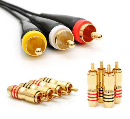 gilding: Cable with connectors for video and audio recording. Collage Stock Photo