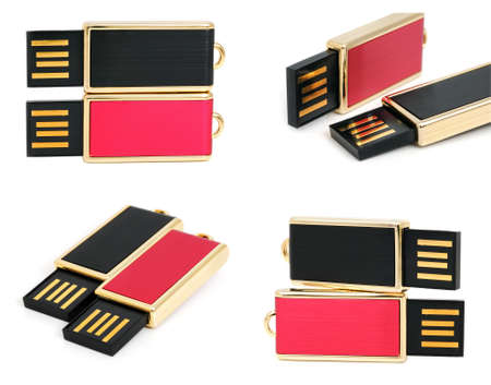 USB flash drives on a white background photo