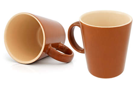 Ceramic cup isolated on a white background. Collage. photo