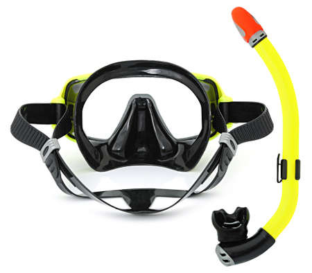 Snorkel and mask for diving isolated on white background. Stock Photo