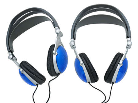 Stereo ear-phones for music listening isolated on a white background. Collage. photo