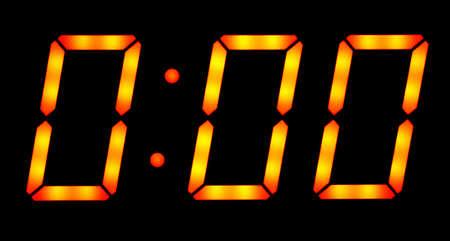 Digital clock show zero hours zero minutes. Isolated on the black background Standard-Bild