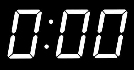 Horloge numérique montrent zéro heure zéro minute isolés sur le fond noir
