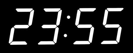 Digital clock show five minutes to twelve  Isolated on the black background