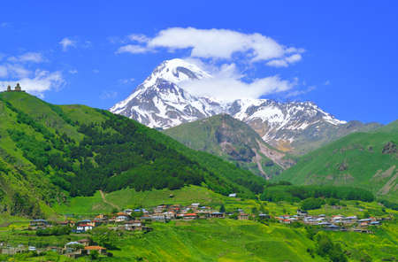 Mountain village at the foot of Mount Kazbek  Caucasus Mountains  Georgia