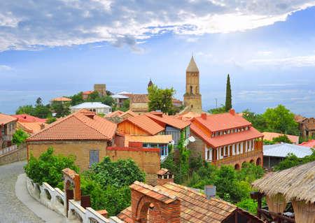 Ancient Georgian town Signakhi against Alazansky valley  Kakheti