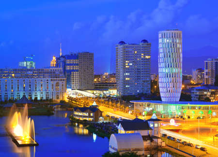 Capital of Adjara - Batumi at night against the dark blue sky  Georgian