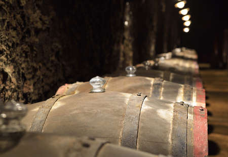 Barrels of wine in an old wine cellar photo