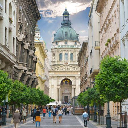 bilding: Zrinyi Utca street and Saint Stephen s Basilica in Budapest  Hungary