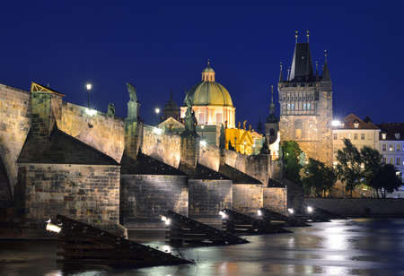 Vltava river, Charles Bridge and Old Town Bridge Tower in Prague at night  Karluv Most  Czech Republic photo