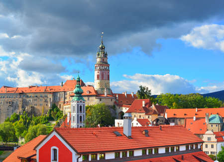 Cesky Krumlov  Gothic castle and Hradek tower   South Bohemian Region of the Czech Republic  Cesky Crumlaw on the Vltava River