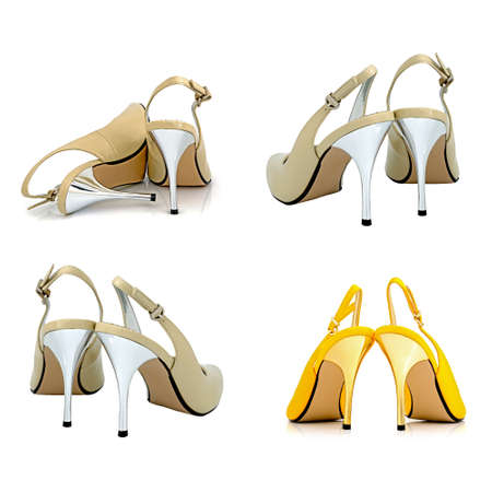 Womens shoes isolated on the white background. Collage photo