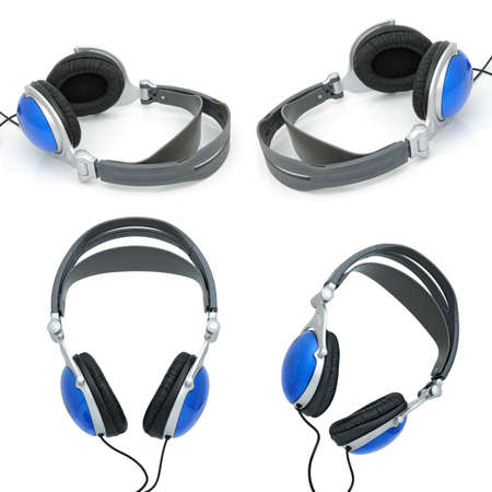 qualitative: Stereo headphones for listening of qualitative music on a white background. Collage