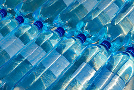 carbonated: Plastic bottles with carbonated mineral water. Soda Bottles. Stock Photo