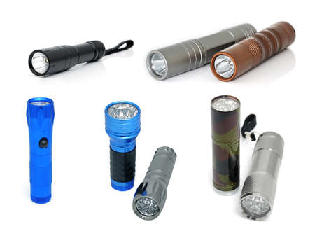 torches: Electric torches with a LED illumination isolated on white background. Collage Stock Photo