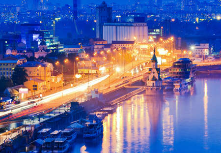 dnieper: Kiev city, Capital of Ukraine. Night View of the Dnieper river, an old embankment and Church of Saint Nicholas (on the water) in Kyiv.
