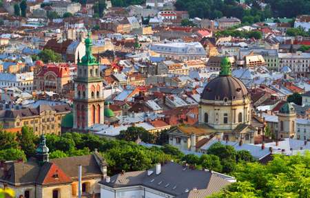 Lviv City in the evening. Central part of the old city of Lvov. Ukraine