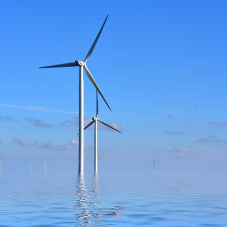 conservation: Wind turbines in the sea against a blue sky in the early morning