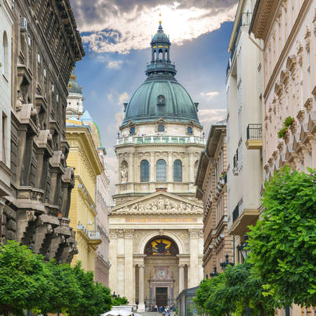 saint stephen cathedral: Saint Stephens Basilica. Zrinyi Utca street in Budapest. Hungary.