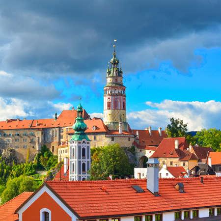 gothic castle: Gothic castle and Hradek tower. Cesky Krumlov. Czech Republic. Editorial