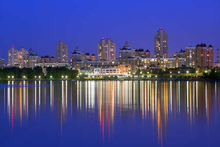 embankment: Obolon embankment of the Dnieper River in Kyiv in the evening. Kiev, Capital of Ukraine Stock Photo