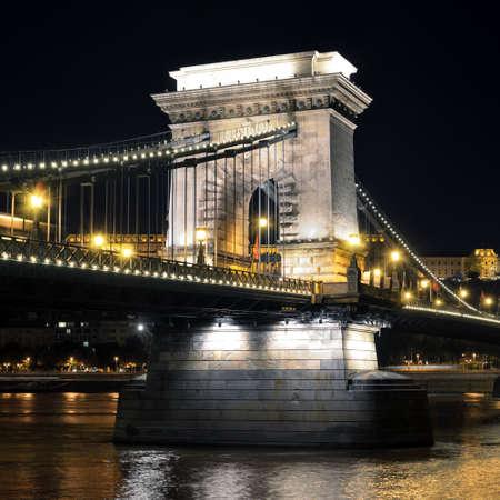 bilding: Budapest, Hungary. Szechenyi Chain Bridge on the Danube river at night Stock Photo