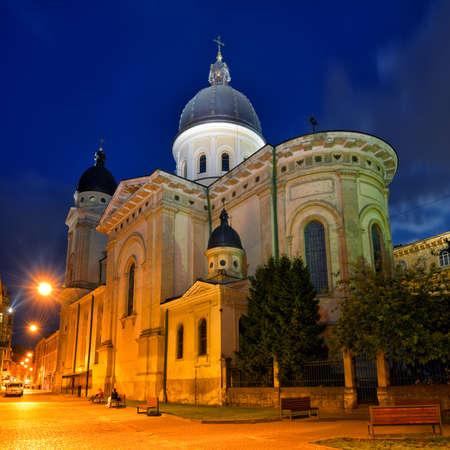 lvov: Church of Transfiguration in Lviv at night. Ukraine, Lvov