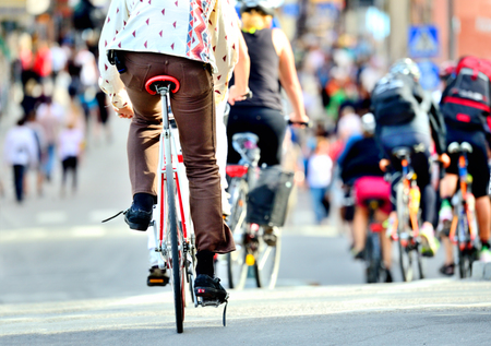 Rear view of bicyclists crowd Standard-Bild