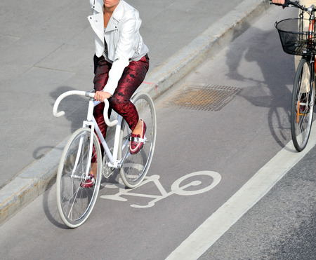 Top view of bicyclist in bike lane 写真素材