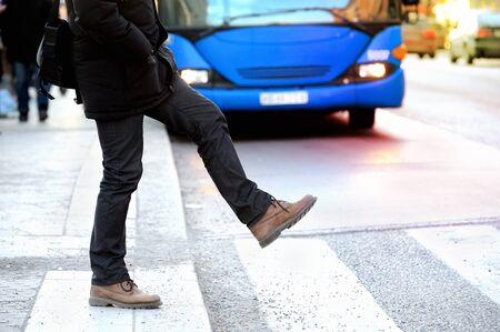 arriving: Man taking the step