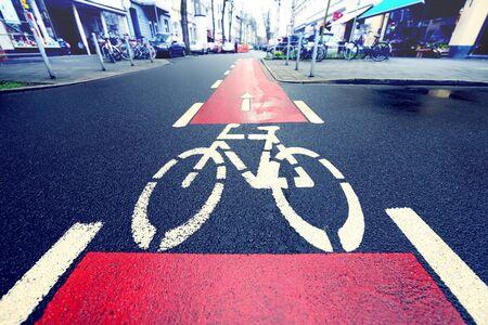bicycle lane: Red bike lane Stock Photo