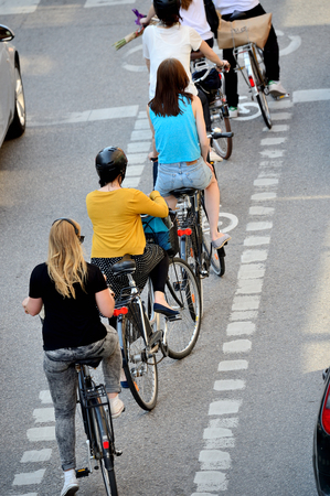 Bicyclists waiting for green