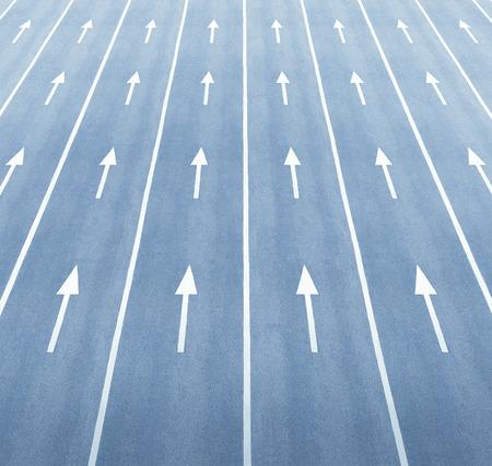 Multiple arrows and lane markings