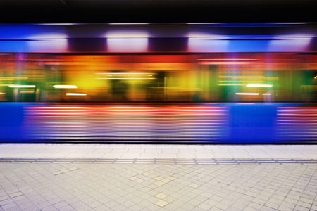 Motion blurred subway train