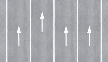 one lane street sign: One is ahead. Arrow leader before the others.