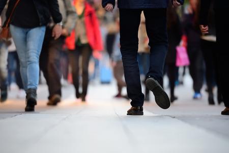 Close up of man shoes walking