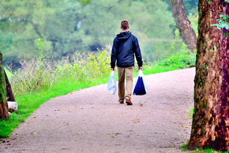healthy path: Man walking in the park