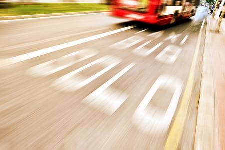 express lane: Bus in bus lane Stock Photo