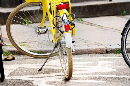 Bicycle parked on bike symbol Stock Photo