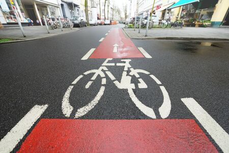 Red bike lane photo