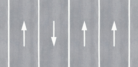 reversed: One is against. Arrow reversed against the others. Stock Photo