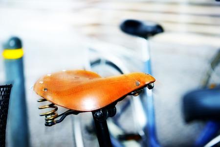 saddle: Close up of bicycle saddle
