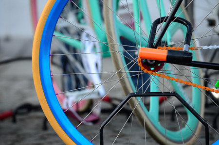 Close-up of colorful bike