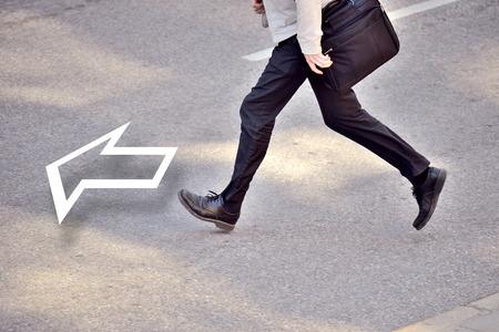 Forward! Man running onwards
