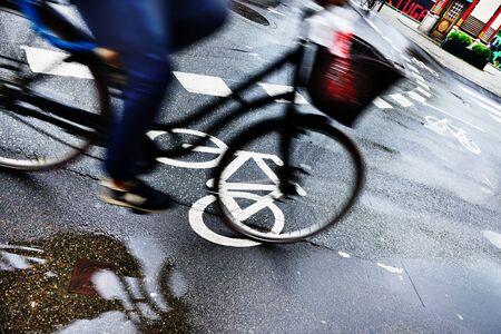Motion blurred bike in traffic