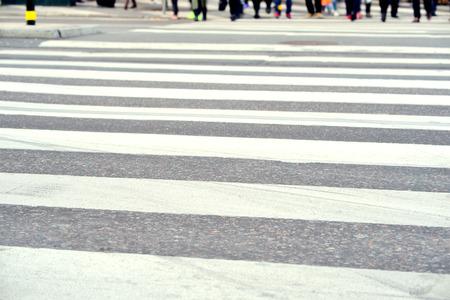 pedestrians: Pedestrians on zebra crossing, out of focus Stock Photo