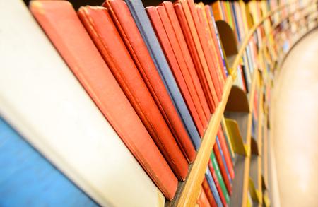 Close up of books in book shelf